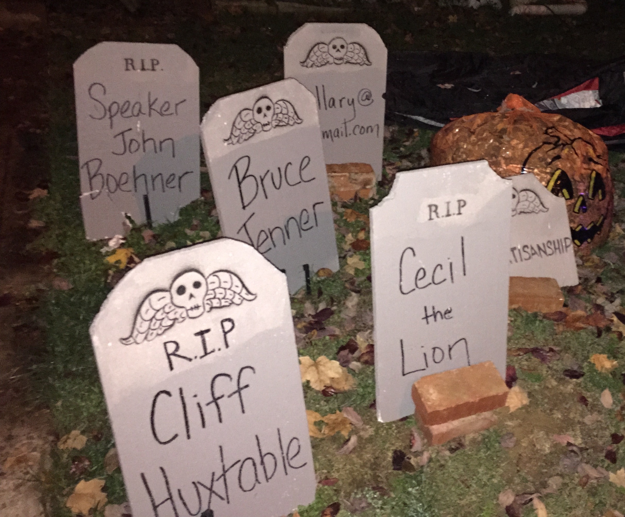 Halloween In Glover Park Tombstones That Name Names